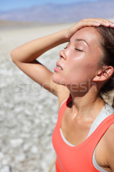 Dehydration thirst concept woman in Death Valley Stock photo © Maridav