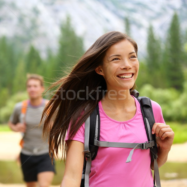 Hiker woman hiking happy Stock photo © Maridav