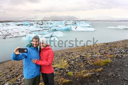 Icelandic flag - tourists on Jokulsarlon, Iceland Stock photo © Maridav