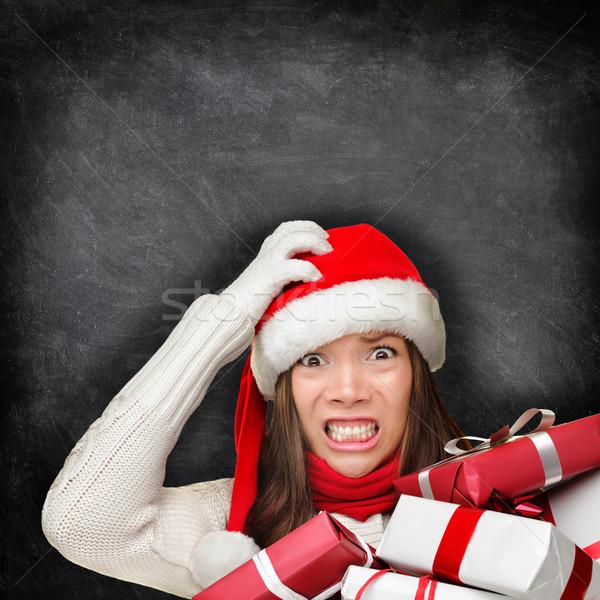 Foto stock: Navidad · vacaciones · estrés · regalo · mujer