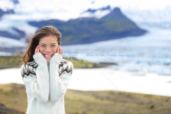 азиатских свитер ледник Исландия Сток-фото © Maridav