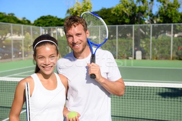 Tennis players portrait on tennis court outside Stock photo © Maridav