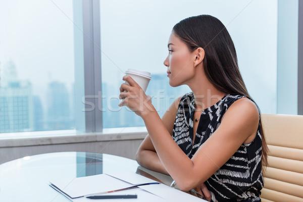 Stock fotó: Iroda · nő · iszik · kávé · gondolkodik · megnyugtató