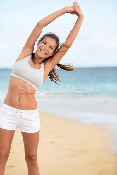 Stok fotoğraf: Mutlu · uygunluk · kız · çalıştırmak · antreman
