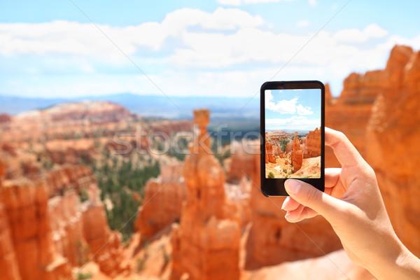 Smartphone camera phone taking photo, Bryce Canyon Stock photo © Maridav