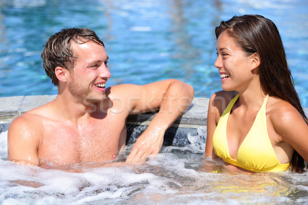 Spa couple happy in wellness hot tub jacuzzi Stock photo © Maridav