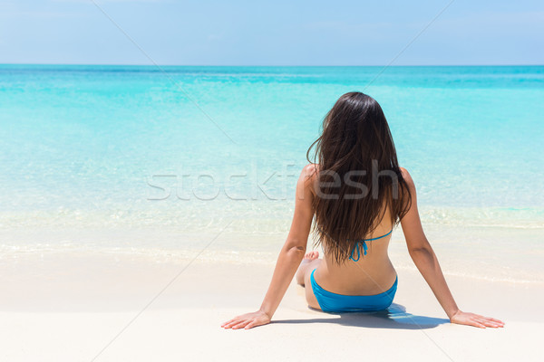 Stock photo: Beach relaxation suntan woman lying sunbathing