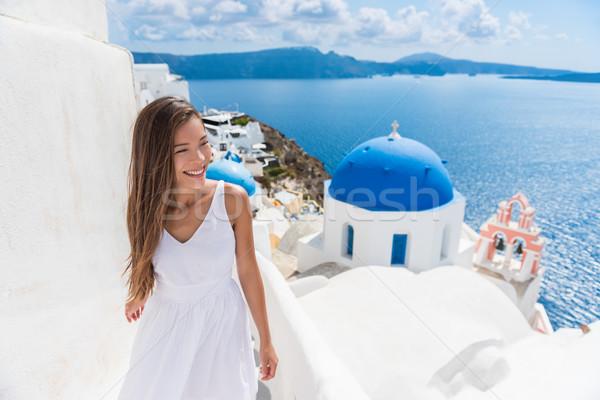 Stock fotó: Santorini · utazás · lépcsősor · turista · nő · sétál
