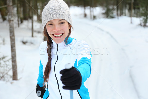 Cross-country skiing woman on ski Stock photo © Maridav