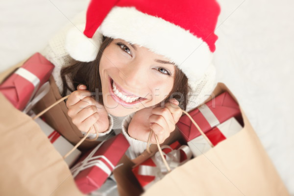 Stockfoto: Mooie · vrouw · christmas · winkelen · vrouw · geschenken · jonge