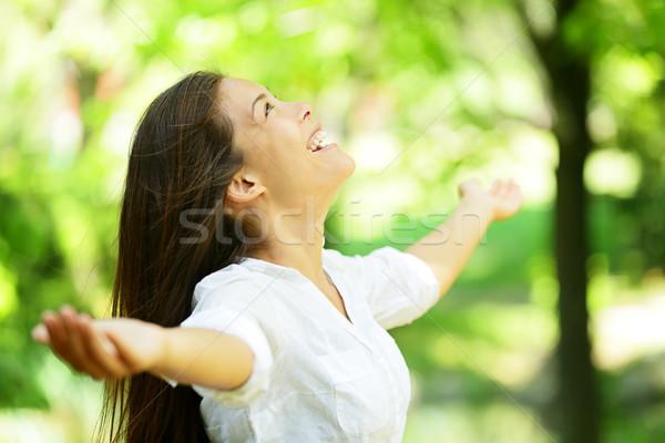 若い女性 歓喜 春 夏 庭園 魅力的な ストックフォト © Maridav