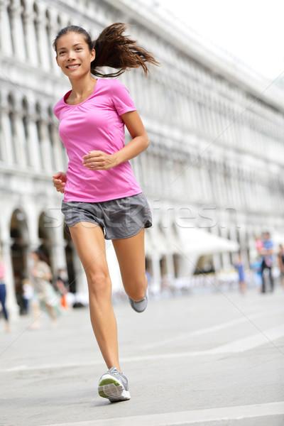 Running runner woman jogging in Venice Stock photo © Maridav