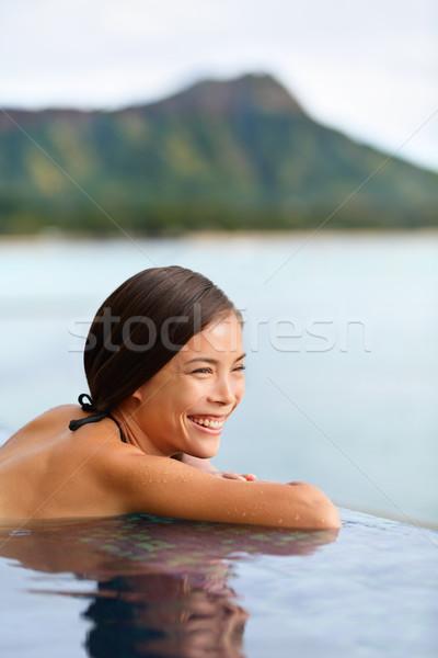 ünnep nő úszik tengerpart Hawaii utazás Stock fotó © Maridav