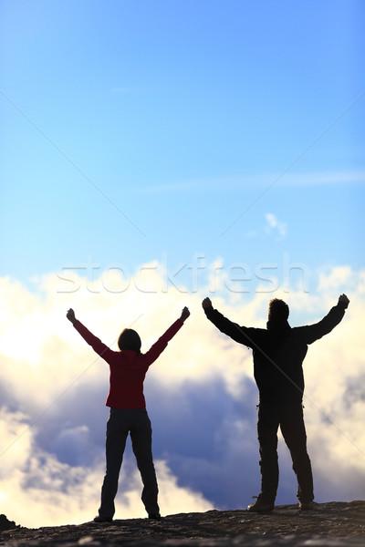Happy hikers reaching life goal - success people Stock photo © Maridav