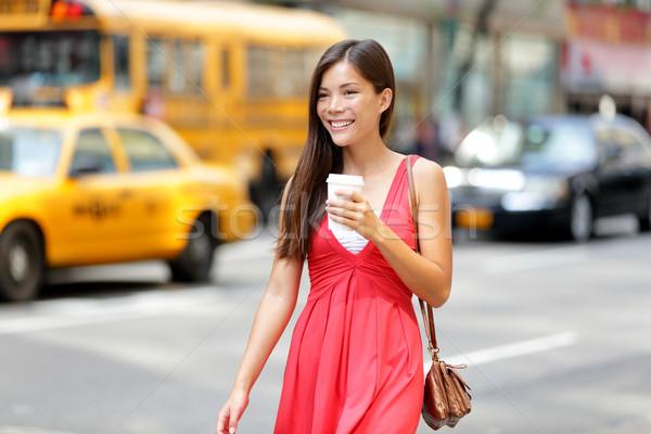 Stock photo: Urban woman drinking coffee in New York City