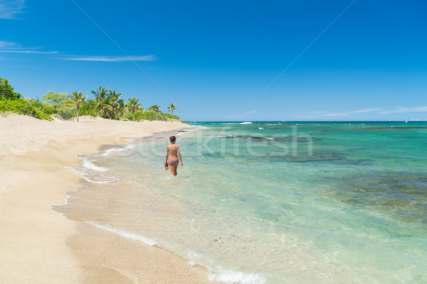 Stock photo: Paradise beach vacation destination woman swimming