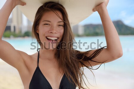 Fitness woman beach portrait Stock photo © Maridav