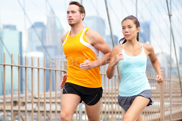 Courir couple jogging New York City formation New York Photo stock © Maridav