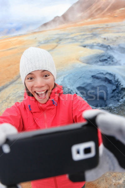 IJsland toeristische thermisch bad foto smartphone Stockfoto © Maridav
