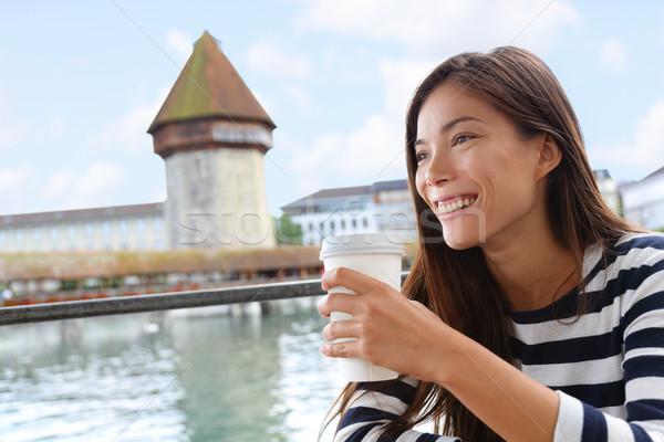 Donna bere caffè cafe Svizzera casuale Foto d'archivio © Maridav