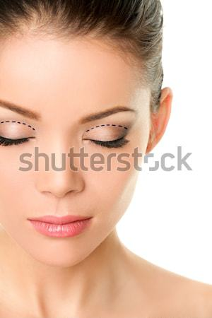Closed eyes beauty face - Asian woman eyelashes Stock photo © Maridav