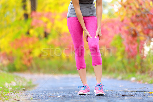 Muscle injury of female sports runner thigh Stock photo © Maridav