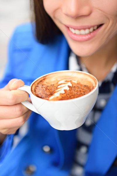 Foto stock: Arte · xícara · de · café · mão · mulher · potável