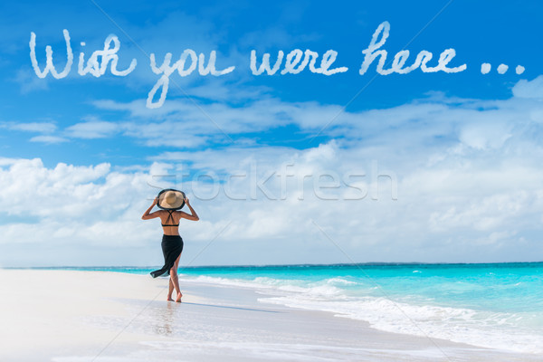Wish you were here cloud message on beach vacation Stock photo © Maridav