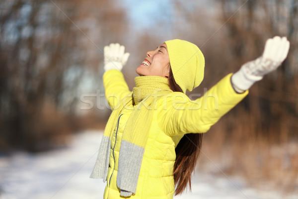 幸せ 冬 自由 気楽な 女性 雪 ストックフォト © Maridav