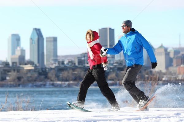 Stockfoto: Winter · paar · leuk · Montreal · gelukkig · lopen