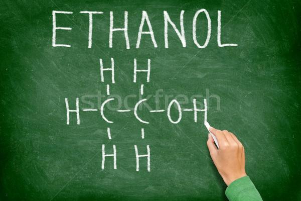 Etanol alkohol vegyi struktúra tábla tudomány Stock fotó © Maridav