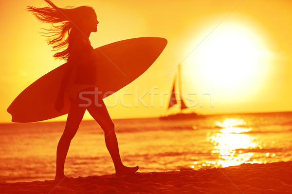 Surf internaute femme babe plage amusement Photo stock © Maridav