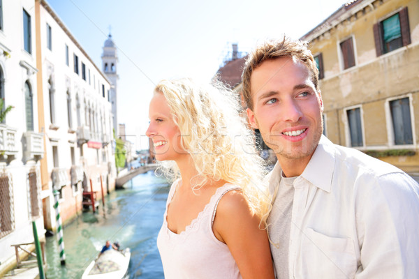 Stock photo: Young couple lifestyle walking in Venice