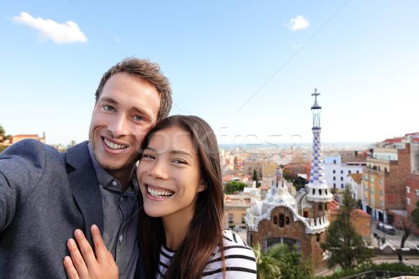 Feliz viajar casal parque Barcelona Espanha Foto stock © Maridav
