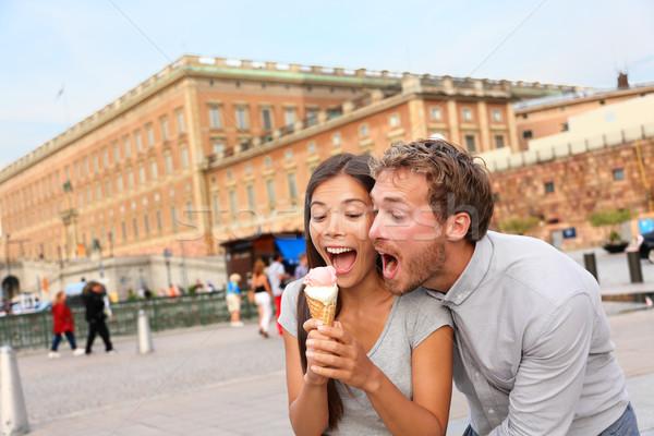 çift yeme dondurma Stockholm Stok fotoğraf © Maridav