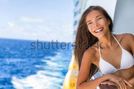 Surfer Mädchen Surfen Handzeichen Signal Stock foto © Maridav