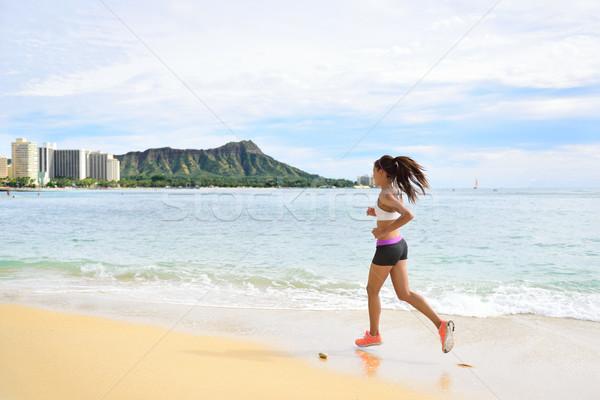 Nő futó fut fitnessz lány tengerpart Stock fotó © Maridav