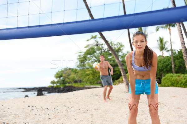 Praia voleibol homem jogo vôlei Foto stock © Maridav
