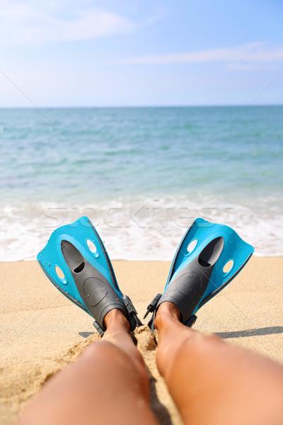 Snorkel beach fun foot selfie snorkeler relaxing Stock photo © Maridav