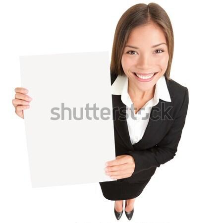 Stockfoto: Zakenvrouw · tonen · teken · jonge · asian · zakenvrouw