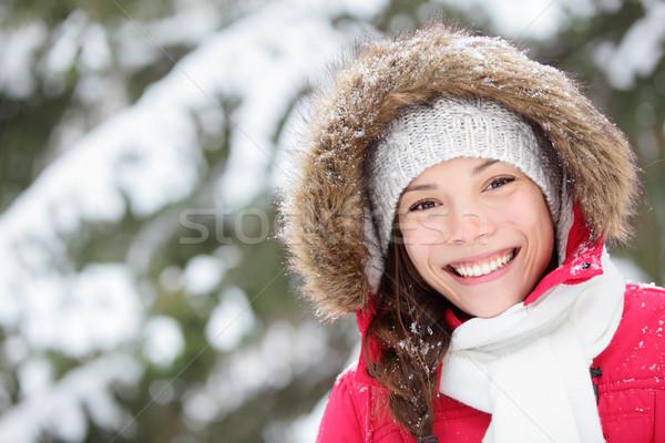Winter woman portrait outdoors Stock photo © Maridav