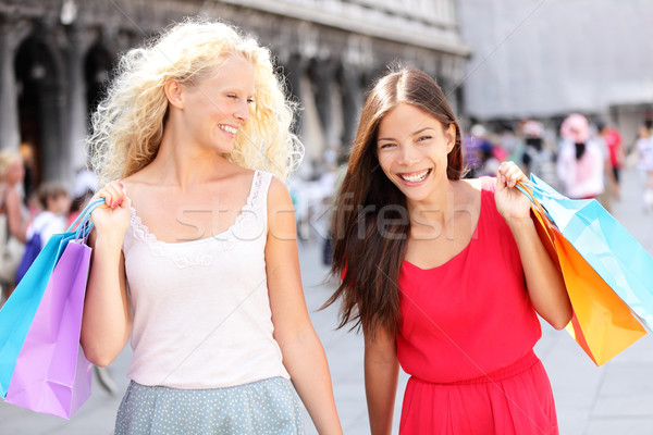 Stock photo: Girls shopping - women shoppers with bags, Venice