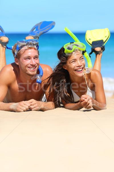 Plaży para snorkeling wakacje szczęśliwy Zdjęcia stock © Maridav