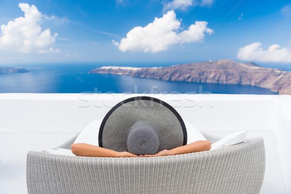 Stok fotoğraf: Seyahat · tatil · kadın · rahatlatıcı · santorini · adası