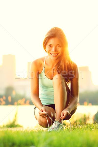 Nő fut edzés napsütés napos nyár Stock fotó © Maridav