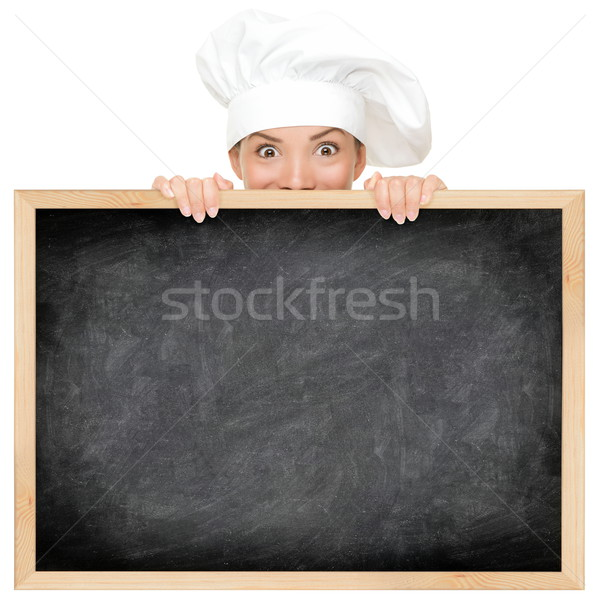Chef tonen restaurant menu Blackboard lege Stockfoto © Maridav