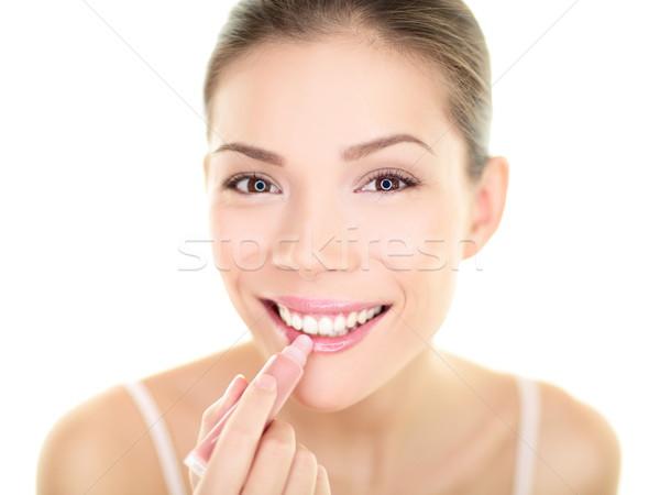 Batom make-up mulher lábio bálsamo cuidar Foto stock © Maridav