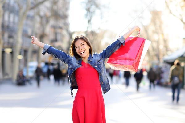 Winkelen vrouw opgewonden la Barcelona gelukkig Stockfoto © Maridav