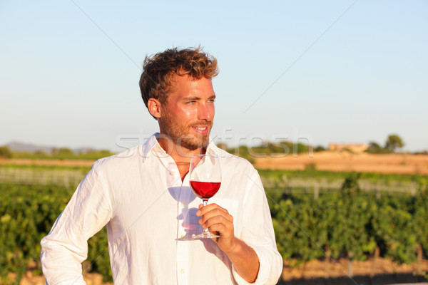 Winemaker man drinking rose or red wine, vineyard Stock photo © Maridav
