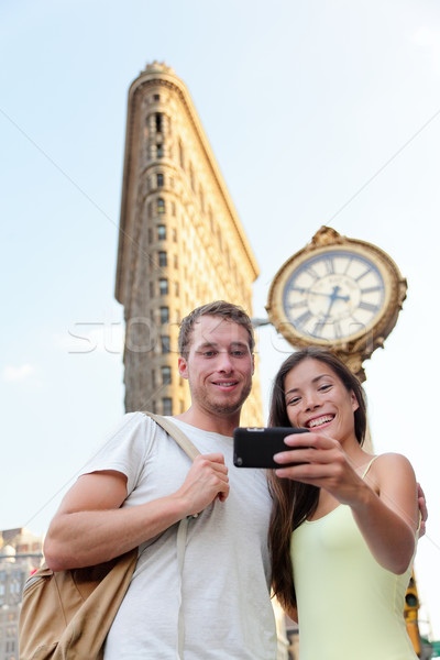 New York couple taking tourist selfie Flatiron NYC Stock photo © Maridav